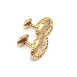 Vintage Antique 1908 10K Yellow Gold Men's Cufflinks