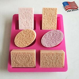 Silicone Soap Mold 6 Form Flower Rectangle Cake Mould Homemade Diy Making Craft