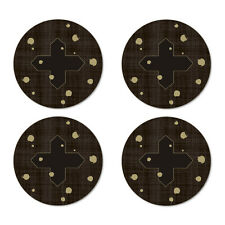 Cork Drink Coasters Set of 4 New Modern Odyssey Round Kitchen Table Bar mat