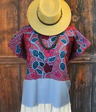 Lovely Floral Huipil Chiapas Hand Embroidered Mayan Mexico Tunic Hippie Boho