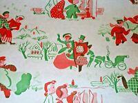 VTG CHRISTMAS WRAPPING PAPER GIFT WRAP NOS SLEIGH CHURCH SNOWMEN TREE SO CUTE