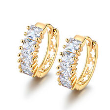 Square Diamond Garnet 18K Silver / Gold Filled Women Lady Wedding Hoop Earrings