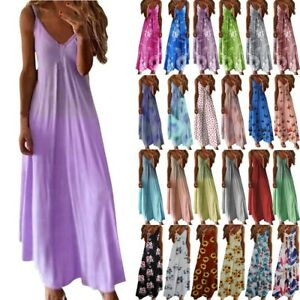 UK Womens Strappy Floral Maxi Dress Ladies Summer Beach Evening Party Boho Dress