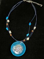 Avon SAQ Silver Tone Turquoise Blue Mother Of Pearl Shell Pendant Medallion...