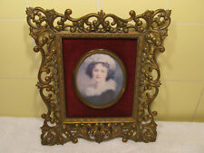 Vtg Cameo Creations-Victorian Girl-Framed Picture-Self Portrait-Vigee Le Brun