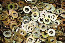 """(1000) 3/8"""" SAE Flat Washers - Yellow Zinc Plated - ZYD"""