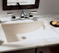 "White Undermount Rectangular Ceramic Bathroom Vanity Sink 18""x13"" with overflow"