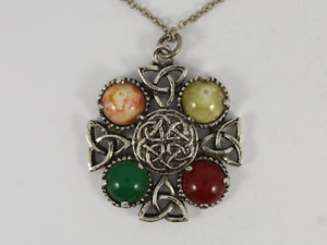 Agate Celtic Cross Pendant Silver Ladies Stunning Necklace 18.2g Jf13