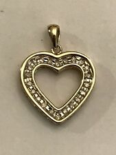 10k Yellow Gold Open Diamond Heart .20 Ct Tw Reversible I Love You