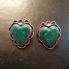 Sterling & Turquoise Mountain Turquoise Heart Earrings Martha Willeto