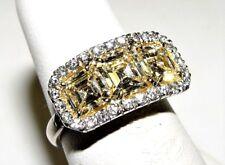 Asscher Cut 3.23CT Yellow Diamond Tree Stone Ring 18K/PLATINUM S-6