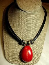 RED & BLK Necklace Black Leather-5 Cords/Strands-Large Red Pendant Southwest