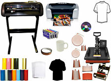 "24"" 1000g METAL Vinyl Cutter Plotter,8in1Combo Heat Press,Printer,Refil,PU Vinyl"