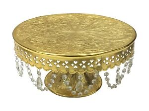 """GiftBay Wedding Cake Stand Round Pedestal Gold finish 18"""" with Glass Crystals"""