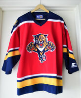 STARTER OFFICIAL NHL FLORIDA PANTHERS HOCKEY JERSEY - KIDS XL SIZE - EXCELLENT