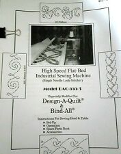 Instructions for DESIGN-A-QUILT DAQ 555-3 (ID 9) LONG ARM QUILTING MACHINE