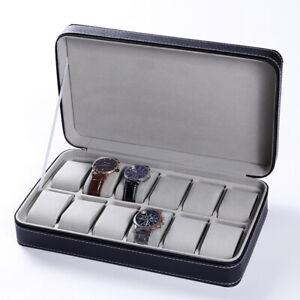 12 Slot Zipper Watch Box Storage Display Case Pu Leather Portable Organizer Bag