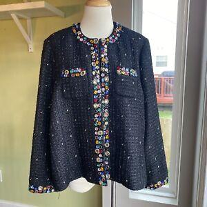 Vintage Berek Rhinestones Beaded Gold Thread Metallic Jacket Blazer Women's XL