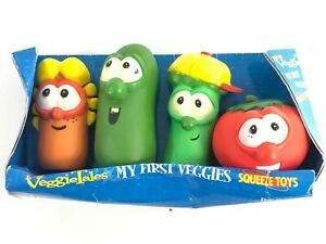 Vintage 1998 Set of 4 Veggie Tales Squeeze Toys With Box by Big Ideas