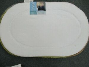 BIBB Oval Non-Slip SPA Bath Rug WHITE  *18 X30 WITH LATEX BACK  FREE SHIPPING !!