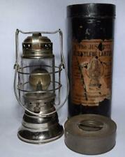 Justrite Acetylene Lantern no. 10 w Storage Tin & Carbide Container - Mining