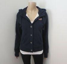 NWT Hollister Womens Sherpa Fur Lined Logo Hoodie Size Medium Jacket Navy Blue