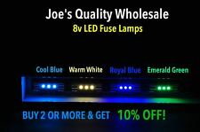 (50)COOL BLUE/WHITE LED FUSE LAMPS 8V-STEREO AMPLIFIER/QR/BA/QRX/EIGHT 8/ SIX 6