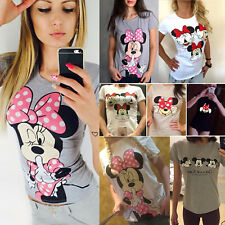 Womens Mickey Minnie Mouse Short Sleeve T-Shirts Summer Casual Blouse Tee Tops