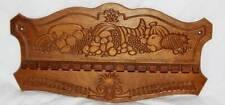"Vintg Display rack~Carved Wood 16-slot Spoon Holder Cornucopia Harvest 18x9""Excl"