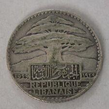 LEBANON SILVER 25 PIASTRES 1929-KM # 7 VERY FINE