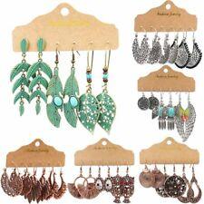 Retro 3 Pairs Boho Gypsy Earrings Set Tribal Ethnic Drop Dangle Women Party Gift