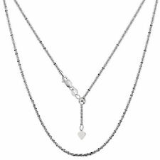 925 Sterling Silver Rhodium Plated 22 Inches Sliding Adjustable Sparkle Chain
