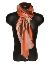 PASHMINA SCARF MAN WOMAN STRIPED FRINGES ORANGE BEIGE WHITE SILK