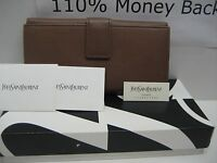 $725 NEW Yves Saint Laurent YSL Continental Brown Leather Wallet Coins Clutch