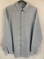 Armani Collezioni Mens Blue/White Striped LS Button Up Shirt SZ 16 1/2-42 LG