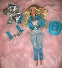 Vtg Mattel WESTERN STAMPIN BARBIE DOLL Original Outfit Cowgirl Turquoise 1976 ??