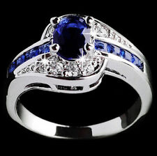 Blue Sapphire Women White Gold Filled Engagement Ring Size 7 8 9 Rings Jewelry #8