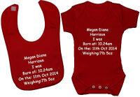 Personalised Name,Time,Date Baby Bodysuit/Romper/T-Shirt & Feeding Bib 0-24 Gift