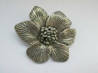 Vintage Signed Miracle Britain Textured Flower Pewter Tone Brooch Pin
