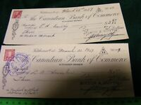 Canadian Bank of Commerce...Old Cheque/Check..used...1947..Kitchener,Ontario.