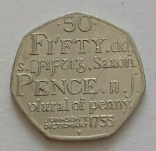 50p Fifty Pence Coin Johnson's Dictionary 1755 Saxon Plural Of Penny 2005