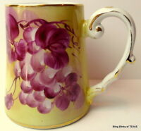 Limoges China Purple Grapes Tankard Tall Mug