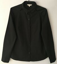 Veronika Maine Long Sleeved Office Shirt with Cut-out Detail in Black   Size 12