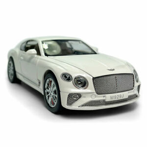 1:24 Bentley Continental GT Model Car Diecast Toy Vehicle Sound & Light White