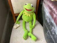 """DISNEY STORE MUPPETS KERMIT THE FROG XL 24"""" SOFT TOY PLUSH TAGS ATTACHED VGC"""
