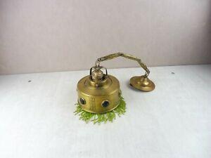 Ancienne lampe / suspension, en laiton perles et pierres, parisienne