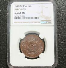 1906 China SZECHUAN 10c Copper Coin NGC MS 64 BN A7