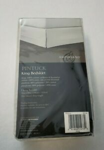 """Ampersand Pintuck Bedskirt w/ 18""""  Drop in White - King SIZE"""