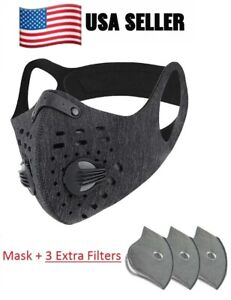 Outdoor Sports Grey Face Cover Built in Filter + 3 Extra Filters US SELLER