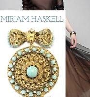 MIRIAM HASKELL Signed Robin Egg Blue Glass Bead Russian Gold BROOCH & LOCKET